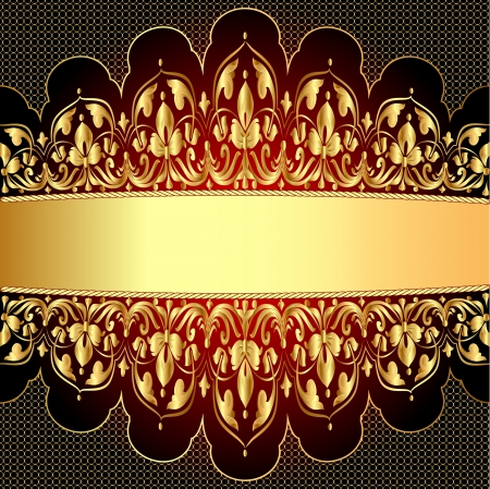 illustration a gold background with a strip with a gold vegetative ornament Stock Vector - 17309272
