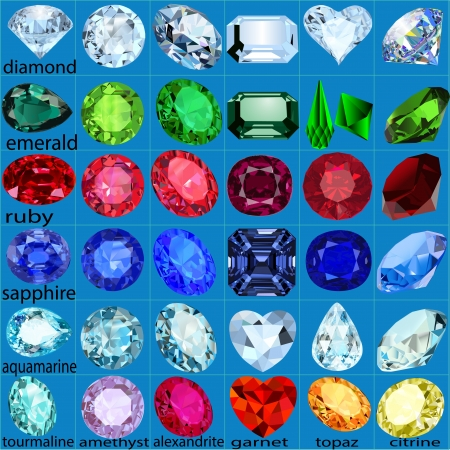 gems: illustration set of precious stones of different cuts and colors