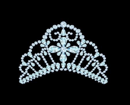 diamond shaped: illustration feminine wedding diadem crown on black