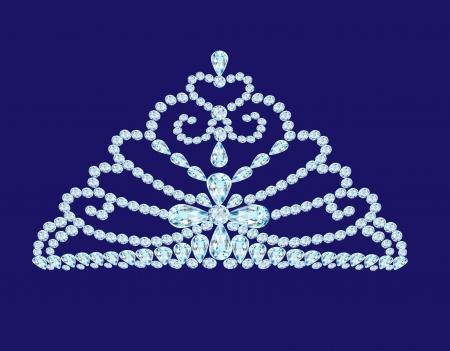 beauty queen: illustration feminine wedding diadem crown on blue