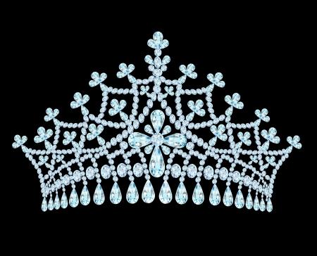 illustratie vrouwelijke bruiloft tiara kroon met kwastjes