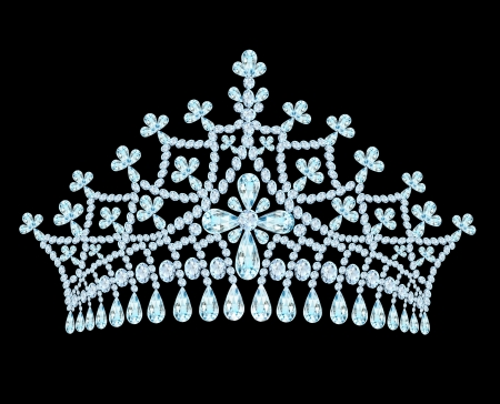 diamond shaped: illustration feminine wedding tiara crown with tassels