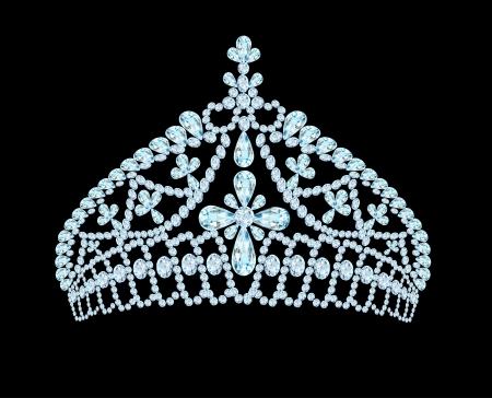 illustratie vrouwelijke bruiloft tiara kroon met licht steen