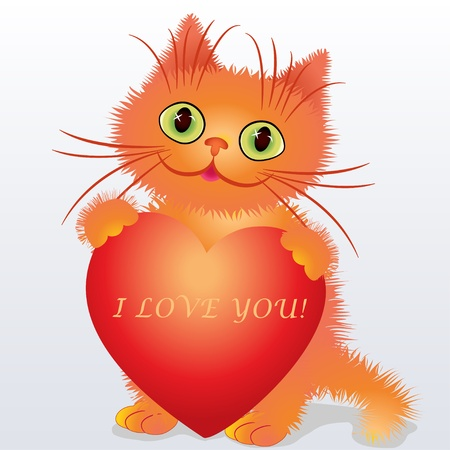 illustration of a funny kitten holding a heart Stock Vector - 17418579
