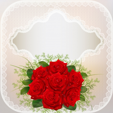 purple rose: illustration of card with red roses and lace