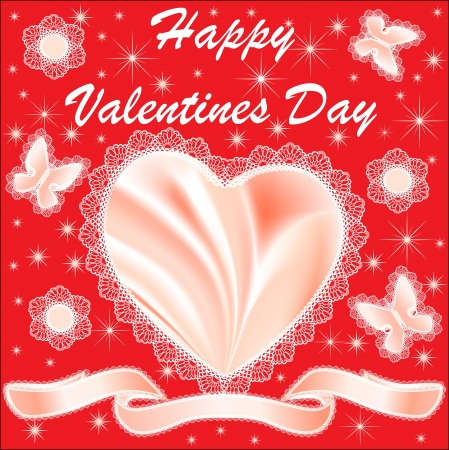 illustration card for Valentine's Day with hearts and butterflies silk Stock Vector - 17472099