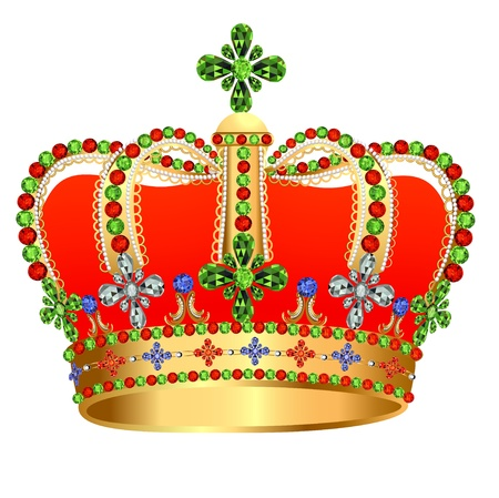 illustration of royal gold crown with jewels Vector