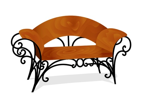 metal legs: illustration of a wooden bench with delicate legs Illustration