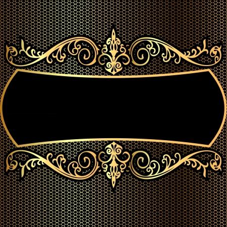 illustration background pattern frame from gild on black background Vettoriali