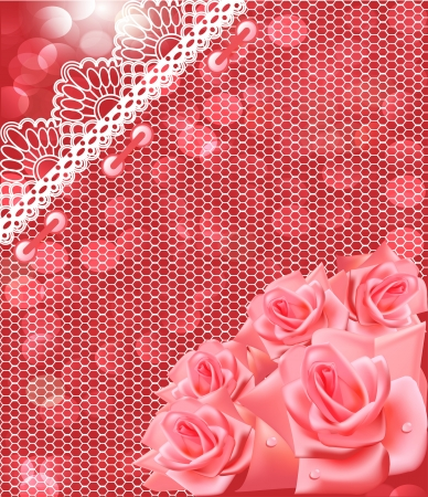 illustration of card with pink roses and lace Vector