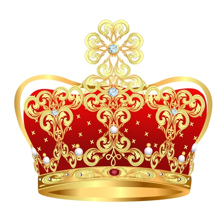 clr: illustration of royal gold crown with jewels and ornament