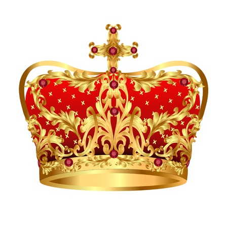illustration of Royal gold crown with red precious stones Stock Vector - 17550261