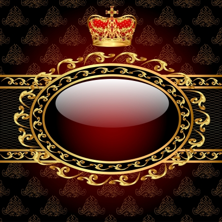 illustration background with a gold crown and a circle of glass Stock Vector - 17550262
