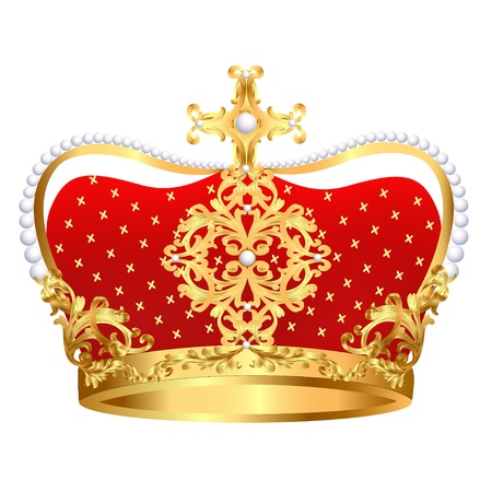 clr: illustration of Royal gold crown with ornament and pearls