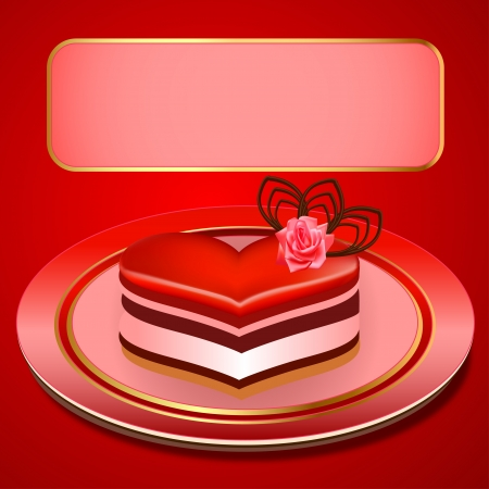 illustration background with a cake in the shape of heart Stock Vector - 17550258
