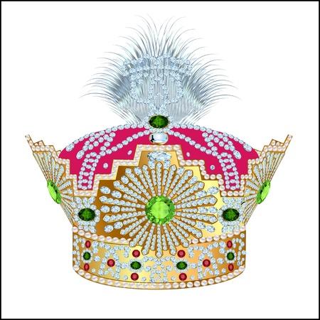 red velvet: illustration tsarist gold corona with pearl and pattern on white Illustration