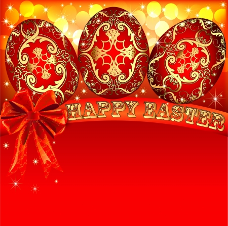 culture decoration celebration: illustration background with Easter eggs and golden bow Illustration