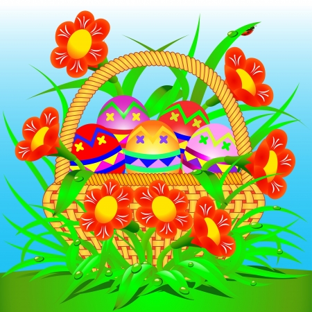 Illustration card with a basket of Easter eggs and flowers Stock Vector - 17665675