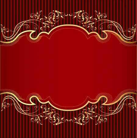 Illustration background with gold(en) ornament and red  band Vector