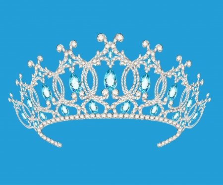 illustration beautiful diadem feminine wedding on we  blue background Vector