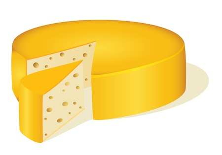 parmesan: illustration of a circle cut off a piece of cheese on white