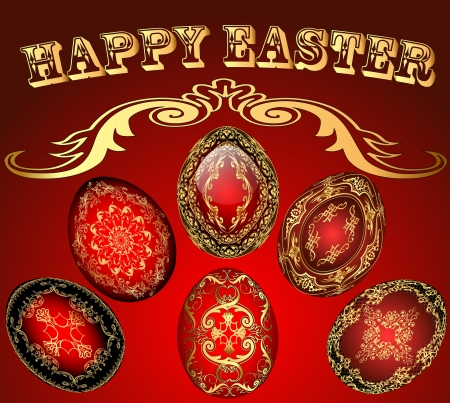 illustration of Easter card with the eggs with gold ornament Vector