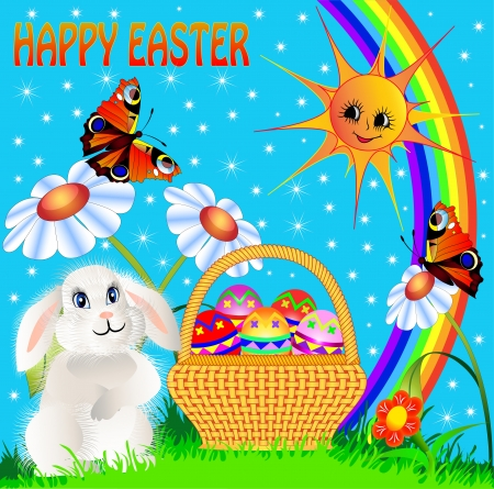 illustration easter background with egg and amusing rabbit and rainbow