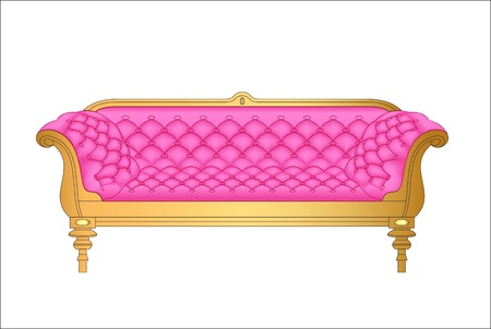 antique chair: Illustration of a pink vintage sofa on white Illustration