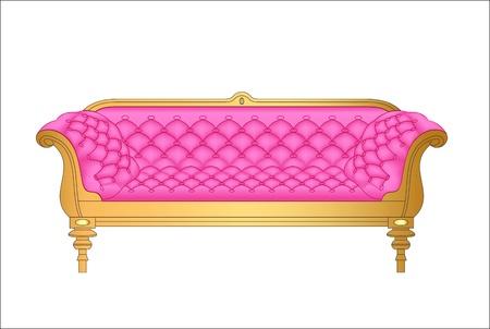 antique chair: Illustration of a pink vintage sofa on white Illustration
