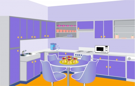 illustration furniture on kitchen by lilac set modern Vector