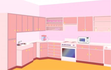 illustration furniture on kitchen by set modern