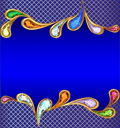 ornament  jewellery: illustration blue background with precious stones and the grid
