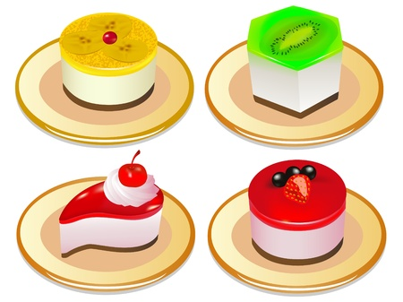 indulgence: illustration a set of desserts of jelly on plates