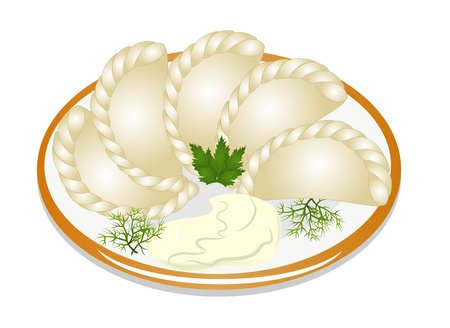 sour: illustration dumplings with sour cream on the plate Illustration