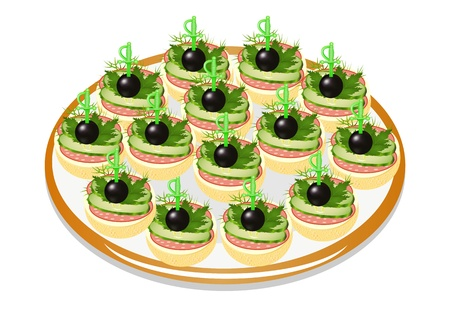 illustration of cucumber sandwiches with sausage and olives on a plate