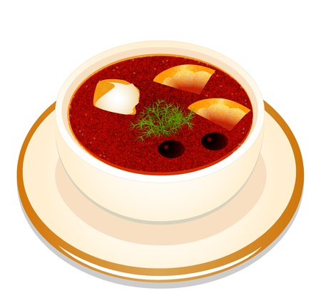 meat soup: illustration of Ukrainian hodgepodge soup with sour cream in a bowl