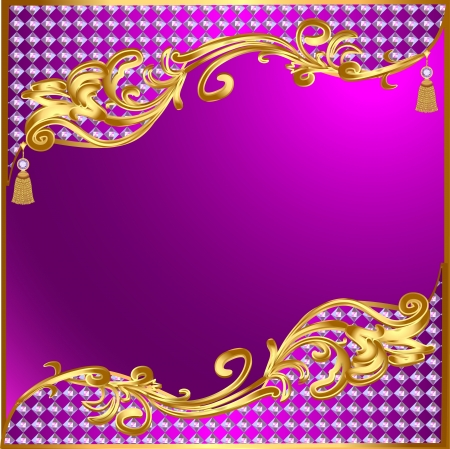 gold buckle: illustration background with gold ornaments and precious stones tassels Illustration