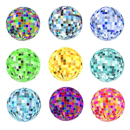 illustration of a set of balls of different colors for a disco on a white Stock Vector - 18080575