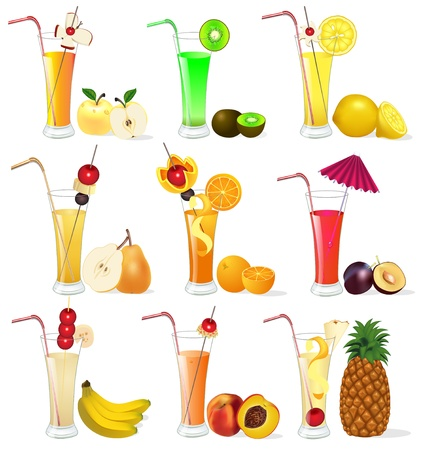 illustration of a set of fruit juices from pineapple, plum, banana peach Vector