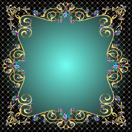 star shaped: illustration background frame with jewels of gold ornaments