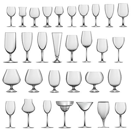 whisky glass: illustration set of empty glass goblets and wine glasses