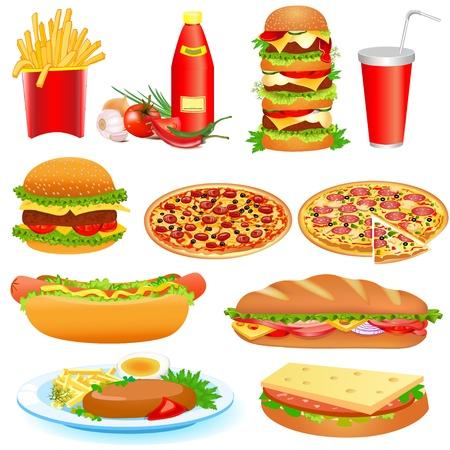 eating fast food: Ilustraci�n con un conjunto de comida r�pida y pitsey ketchup