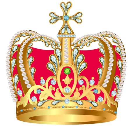 illustration of royal gold crown with jewels and ornament Vector