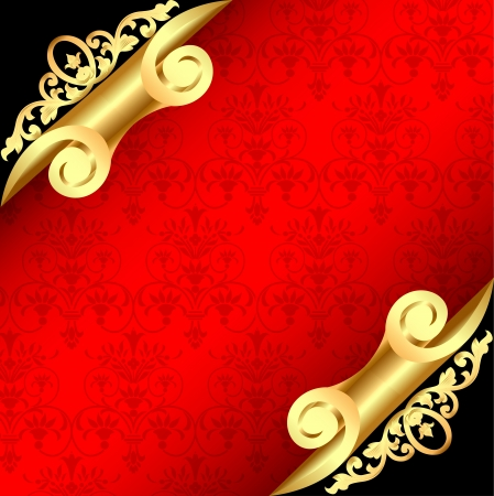 illustration background with corners curl of gold and ornaments Vector