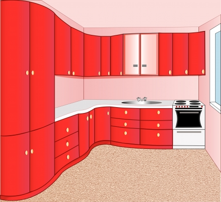 domestic kitchen: illustration of the interior of the kitchen red Illustration