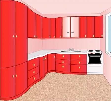 showcase interior: illustrazione degli interni del rosso cucina