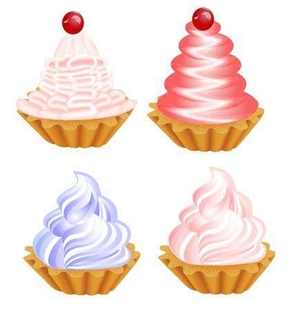 tarta: Ilustracja zestaw pysznych ciast na biały Ilustracja