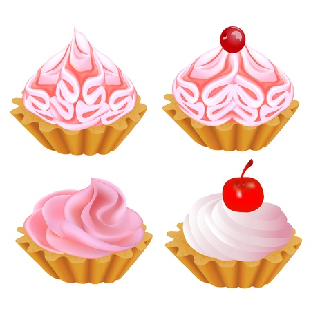 illustration of a set of pink cake Vector