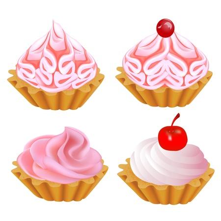 tarta: Ilustracja zestaw różowy tort Ilustracja