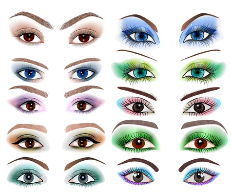eyelashes: illustration of a set of womens eyes with a different makeup Illustration